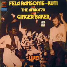 Fela Ransome-Kuti and The Africa '70 with Ginger Baker – <cite>Live!</cite> album art