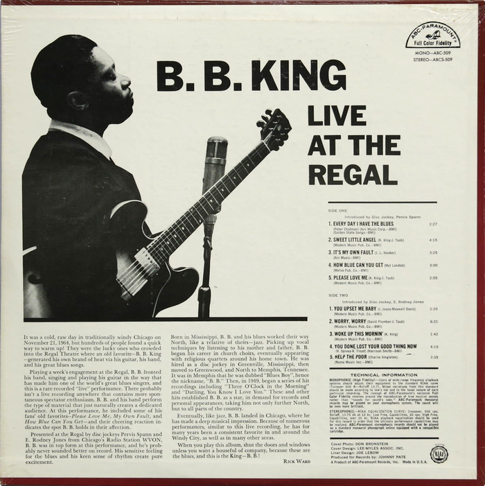 The title on the back cover is presented in all-caps . The liner notes by Rick Ward are set in Linotype , while the track list appears to use several styles from the  family.