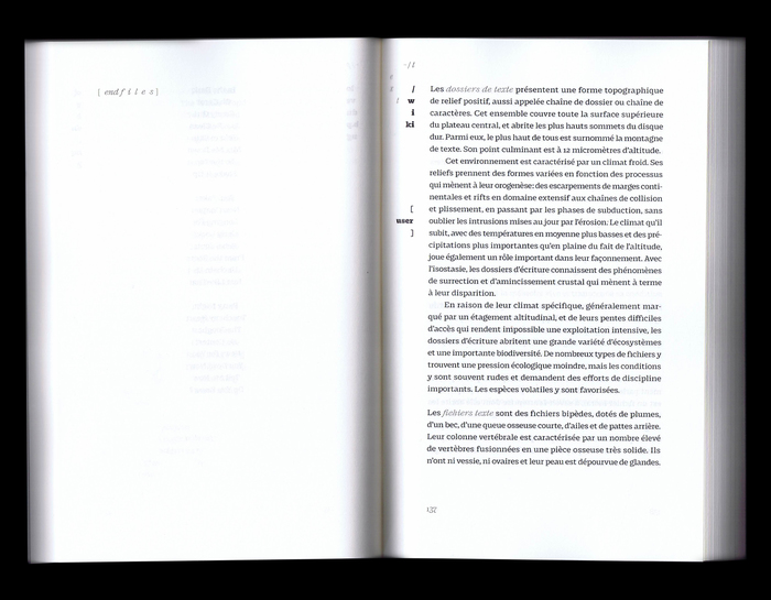 Table of contents, set in Fragen Black and Thin Italic