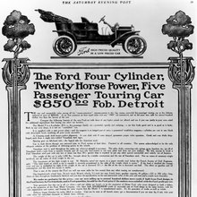 "Ford Model T advert in the <cite>Saturday Evening Post</cite>, 3<span class=""nbsp"">&nbsp;</span>Oct, 1908"