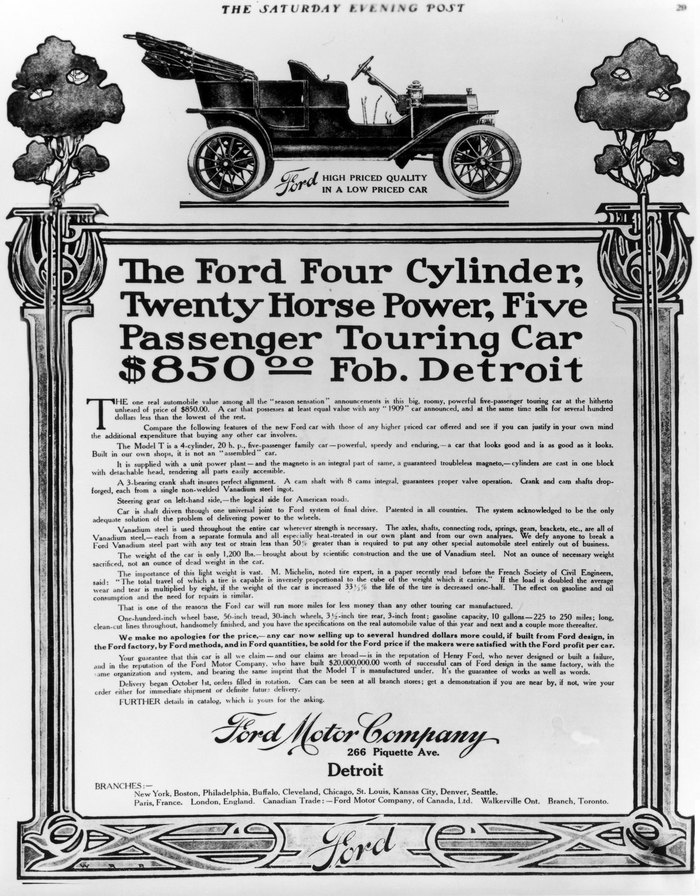 Ford Model T advert in the Saturday Evening Post, 3 Oct, 1908