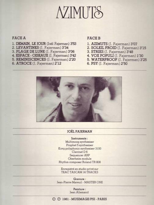 Joël Fajerman – Azimuts album art 2