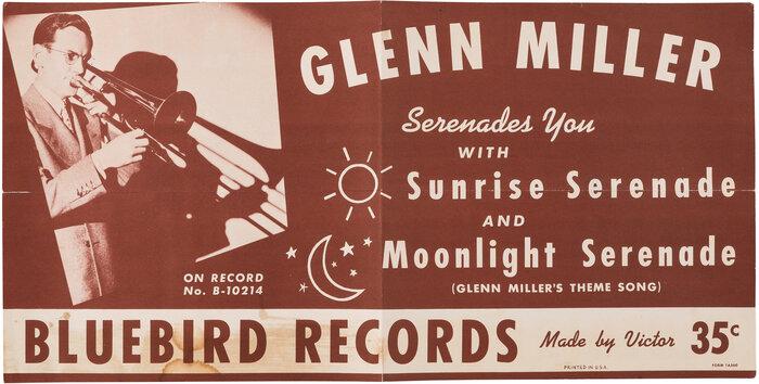 """Glenn Miller """"Sunrise Serenade"""" b/w """"Moonlight Serenade"""" Bluebird Records promotional poster"""