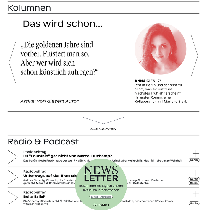 Columns, Radio & Podcast page, Newsletter
