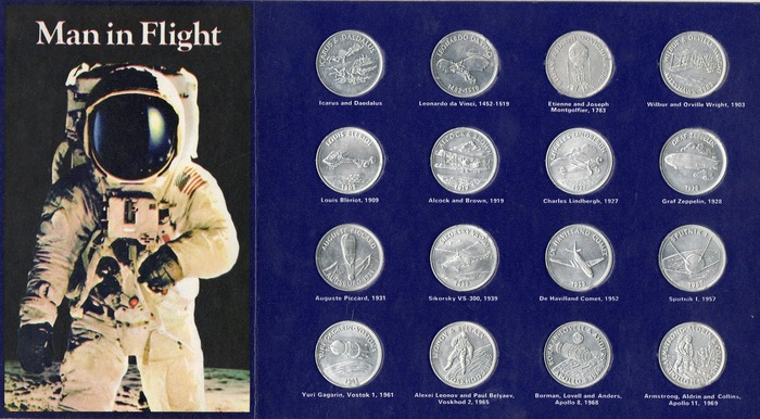 Man in Flight, UK, featuring Goudy Bold. Like in South Africa, the coins here were silver-colored, not yellowish as in other countries, and there were only 16 of them, omitting Heinkel HE 178, Bell XS-1, Wernher von Braun's Jupiter C, and the Gemini 8 spaceflight.