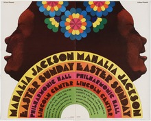 Mahalia Jackson at Lincoln Center Philharmonic Hall concert poster
