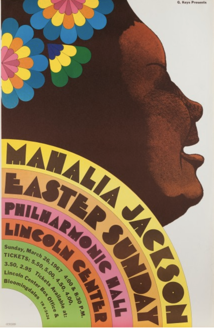 Mahalia Jackson at Lincoln Center Philharmonic Hall concert poster 1