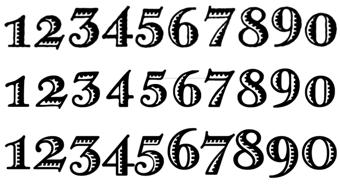 The numerals in the original Greco Adornado (top) are non-ligning. They are special in that none of them descends: 3 and 5, and – unlike in some French typefaces like  – also 4, 7, and 9 all sit on the baseline. Greko Deco (middle) as well as Bristol (not shown) follow this pattern. In Melina Fancy (bottom), the vertical positions have been adjusted to show the conventional up and down of oldstyle numerals.