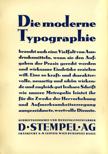 """""""Die moderne Typographie"""" ad, D.<span class=""""nbsp"""">&nbsp;</span>Stempel AG (1930)"""