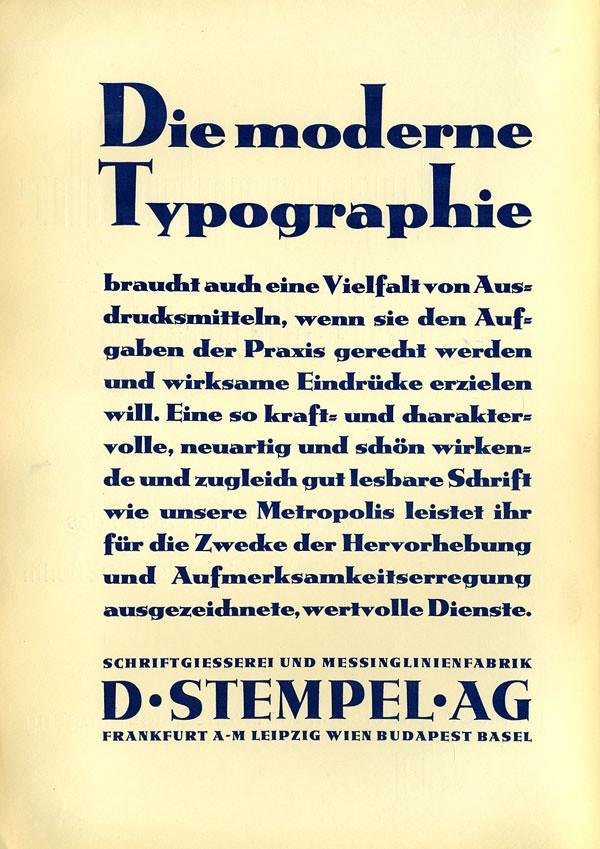 """Die moderne Typographie"" ad, D.Stempel AG (1930)"