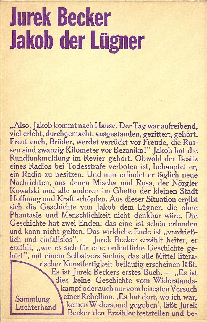 Jurek Becker: Jakob der Lügner, 1970