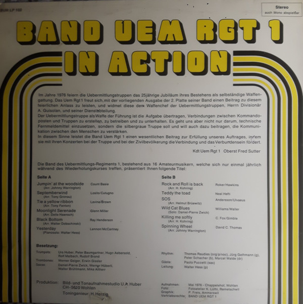 Band Uem Rgt 1 – In Action album art 2