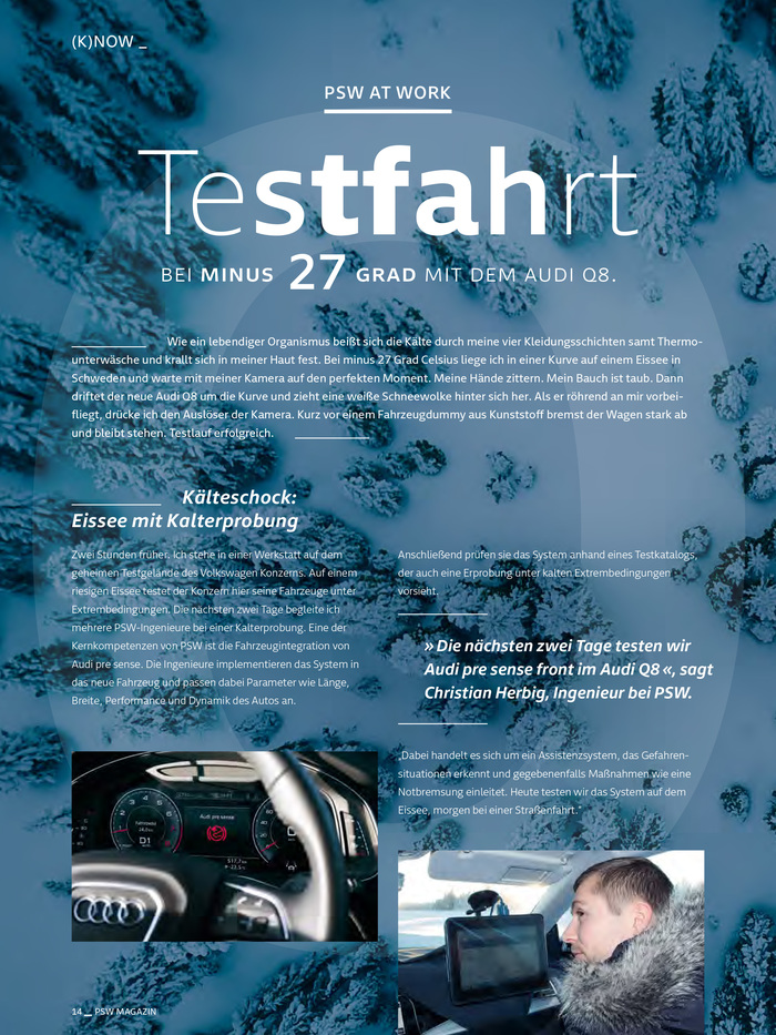 "The headline on this page features a type weight gradient. ""Testfahrt"" uses several of Newson's weights, from Extralight to Bold."