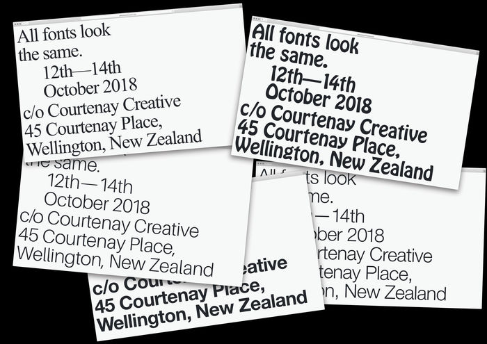 The website renders with headlines in a different font on refresh. The header type selection includes Times New Roman, Neue Helvetica, Hobo and Whyte Inktrap (not shown here).