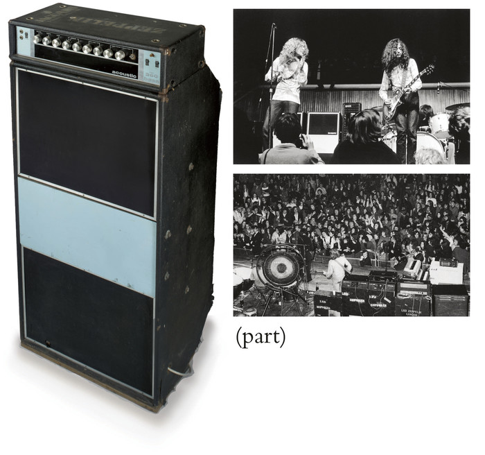 Santana's Acoustic amplifier and sound system backline is seen as Richie Havens performs to 400,000 people at the Woodstock festival in 1969.