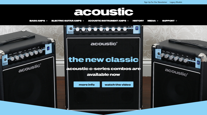 I was pleasantly surprised (and completely shocked) to find out that Guitar Center's site for Acoustic Amplifiers uses an Annonce/Venus follower as webfont: It's  by Photo-Lettering, which is distinguished from the older bold wide grotesks by its rounded dots. The digital version was made in the 90s by Castcraft.