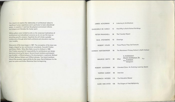 Editorial statement (left) and table of contents (right).