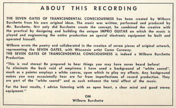 "Detail from the back cover. ""This is real stereo! Be prepared to hear things you may have never heard before!"" The typeface is , Linotype's copy of Futura, here easily distinguishable by its alternate double-storey a."