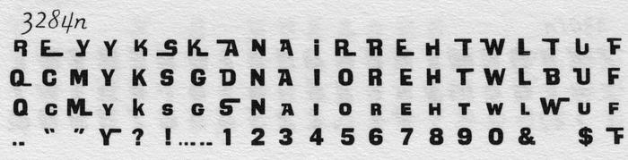 Partial glyph set of Koziar Interlock with alternates, as shown in Alphabet Thesaurus Vol.2.