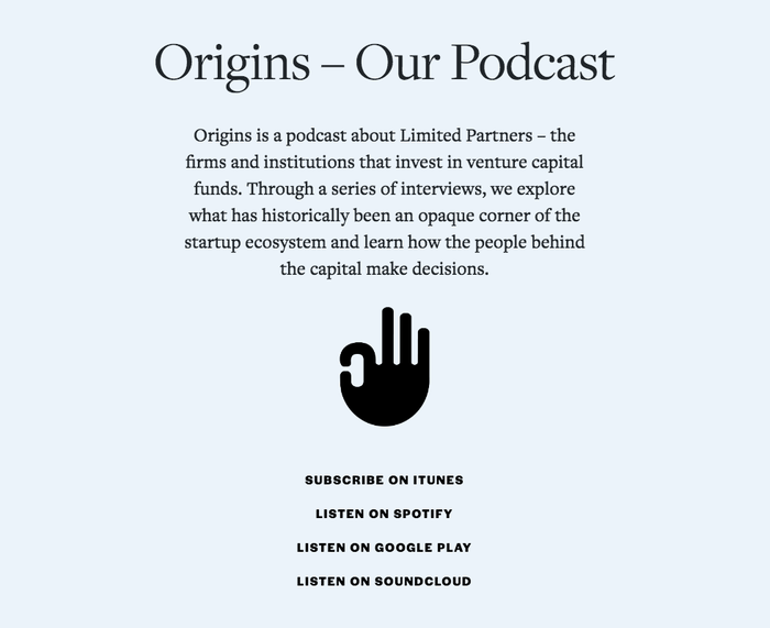 The podcast links are rendered in all-caps Halyard Display Bold.