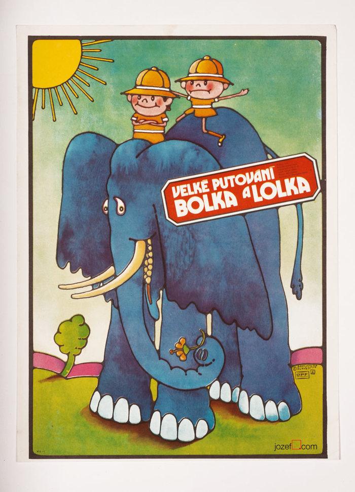 Velké putováné Bolka a Lolka (Around the World with Bolek and Lolek, original title: Wielka podróż Bolka i Lolka), Poland, 1977. Directed by Władysław Nehrebecki. Featuring Ewa Zlotowska, Danuta Mancewicz, Jan Kociniak.