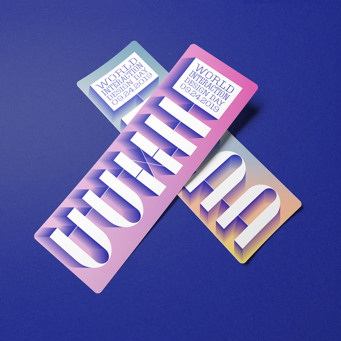 Print collateral featuring a vertical version of the IxDD logo, with stacked and justified Roster in caps from various of its five widths.