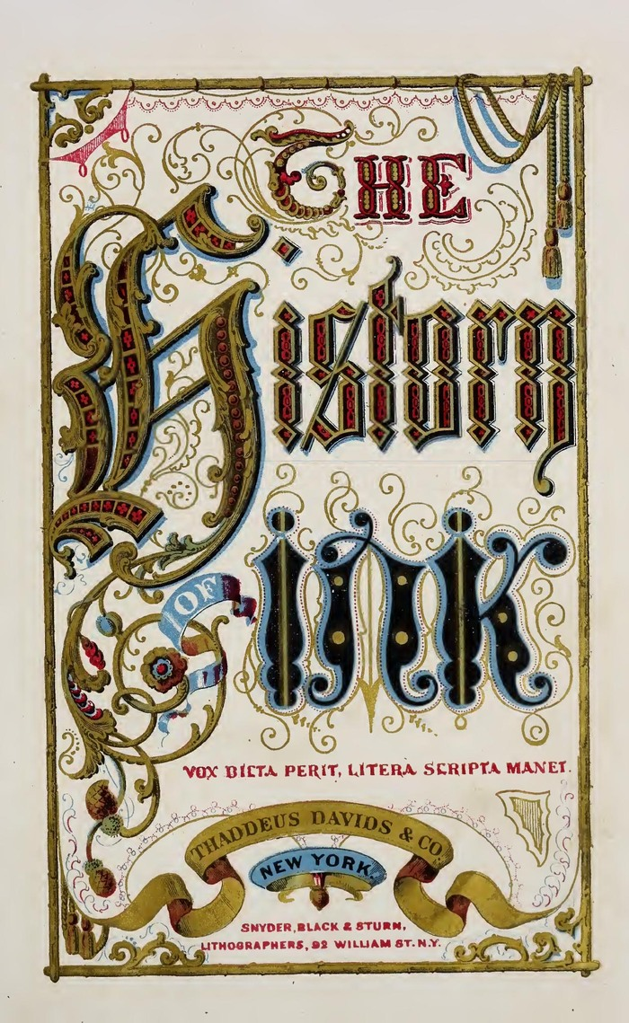"Title page (lettering), featuring the Latin motto Vox dicta perit, litera scripta manet (""A heard voice perishes, but the written letter remains.""). Lithography by Snyder, Black & Sturm, 92 William St., New York."