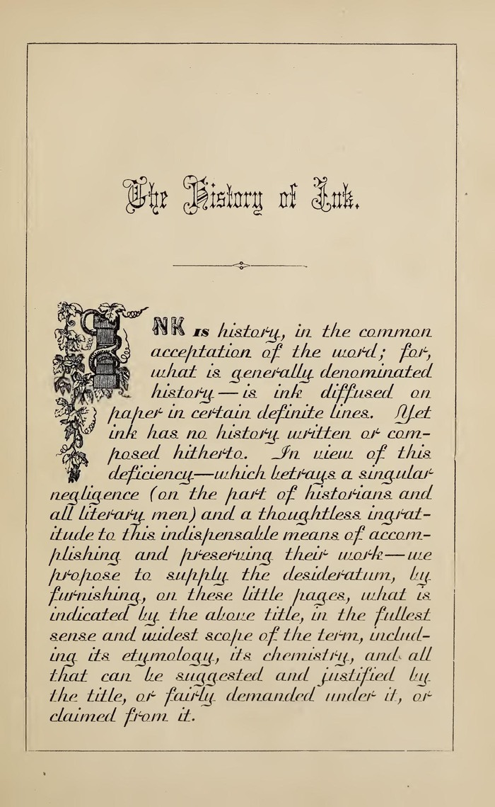 "Introductory page, with Cuneiform, Rustic, a fat face, and Madisonian for text. The drop cap with vine branches might be from the ""First Series"" of initial letters shown in the 1869 catalog of the Bruce foundry."