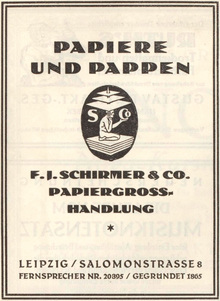 """""""Papiere und Pappen"""" ad by F.J.Schirmer & Co."""