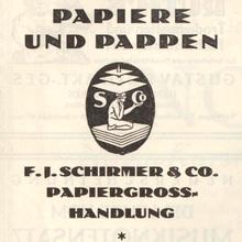 """Papiere und Pappen"" ad by F.J.<span class=""nbsp"">&nbsp;</span>Schirmer &amp; Co."