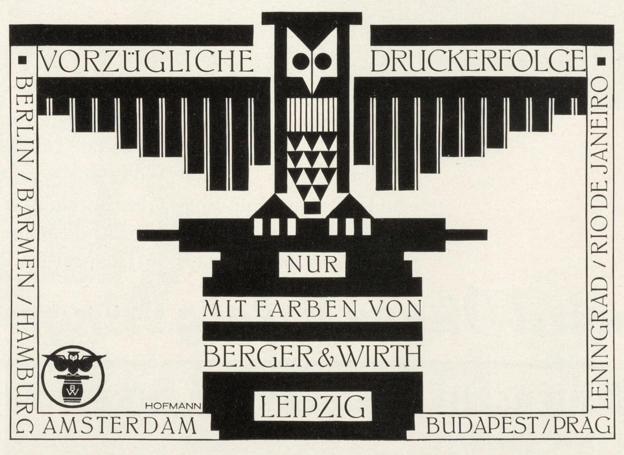 """Vorzügliche Druckerfolge"""" ad by Berger & Wirth - Fonts In Use"""