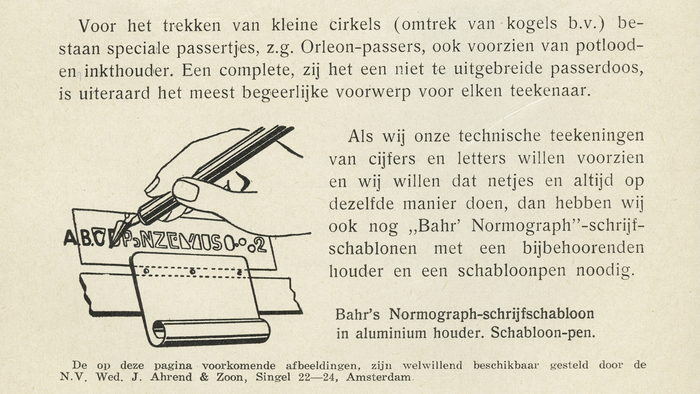 Instructional illustration, showing the use of Bahr's Normograph for lettering. From Typotheque:   The Normograph, for example, invented by vocational school teacher Georg Bahr, was patented in Germany in 1909 and in America in 1912. Bahr's Normograph did not contain a full character set, but only a few elementary shapes—stems, arms, curve segments, diagonals—that needed to be combined into letters and numerals.