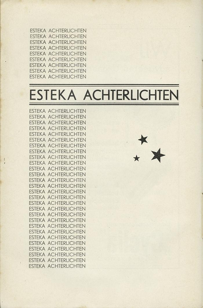 "Esteka Achterlichten (""Esteka Rear Lights""); Esteka is probably a phonetic acronym for S.T.K."