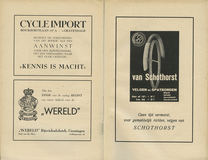 """Advertisements; spread from Het Bandenboekje. In contrast to the body text, the ad on the right hand page does use Romana Italic. The """"Wereld"""" advertisement says: """"The end of the war marks a new era for the world/ De Wereld""""."""