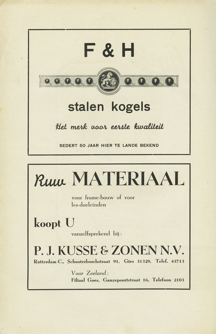 Ad for steel bullets, using Monoline Script and Breite halbfette Grotesk; the bottom advertisement for 'raw material' pairs Monoline Script with Egmont.