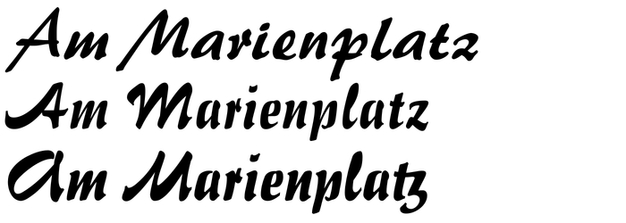 Top: Brush 445, Bitstream's digital version of Palette. Middle: Impuls BT, featuring the A and M that were replaced for the sign. Bottom: Impuls Pro (RMU, 2010), with activated alternates for A and M, as well as a tz ligature. These forms were included in the original metal font, too, but are missing from Impuls BT.