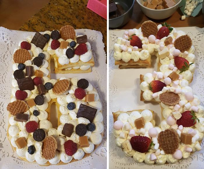 Akkordeon Thirteen. Cream puff cake with red fruits and cookies. Cesc, 6; Arlet, 3.