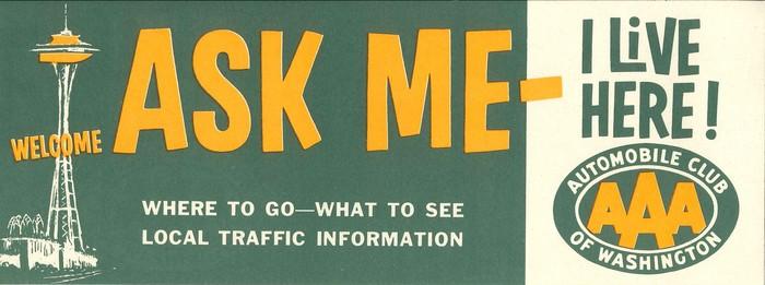 """""""Ask me – I live here!"""" bumper sticker"""
