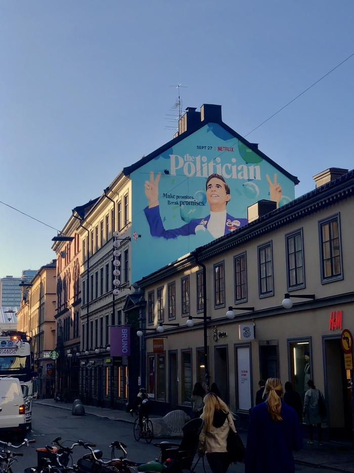 A site-specific mural ad for The Politician on a building in Götgatan, Stockholm, Sweden.