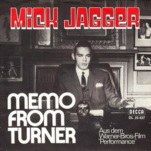 "Mick Jagger – ""Memo From Turner"" singe cover"