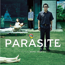 <cite>Parasite</cite> movie poster and trailer