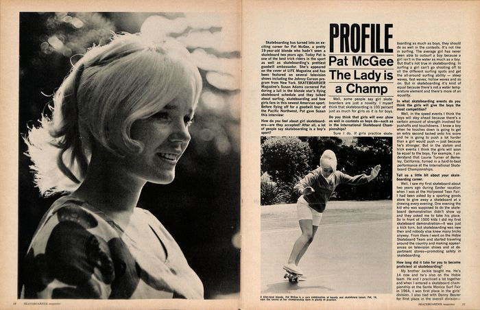 """Spread from the interior: """"Profile"""" again is in , """"The Lady is a Champ"""" in , and body copy in ."""
