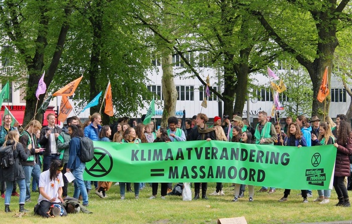 """""""Climate Change = Mass Murder"""" – protesters in Amsterdam, The Netherlands."""