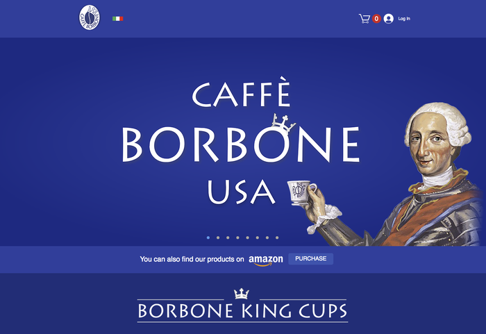 Homepage of the American website, caffeborboneusa.com.