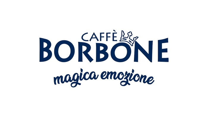 "Logo as used on the Italian website, caffeborbone.it, using Lithos in two weights. In ""Borbone"", the outer letterforms are distorted. Here, it's a tilted letter O that gets to wear the royal crown. The slogan ""magica emozione"" is in ."