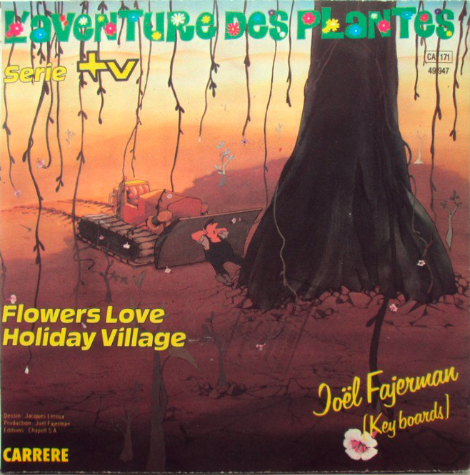 "Two tracks from the soundtrack, ""Flowers Love"" and ""Holiday Village"", were released as 7″ single (Carrere, 1982). The cover features a drawing by Jacques Leroux. The flowery title typeface is .  is used for the artist's name. The bold italic sans is unidentified."