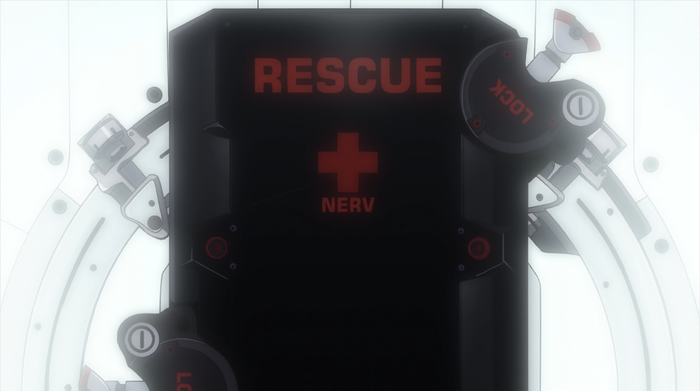 """RESCUE NERV"" set in Eurostile."