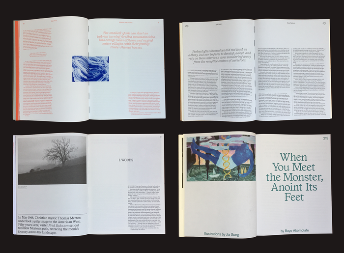 Several spreads, showing a variety of layouts, colors and papers.