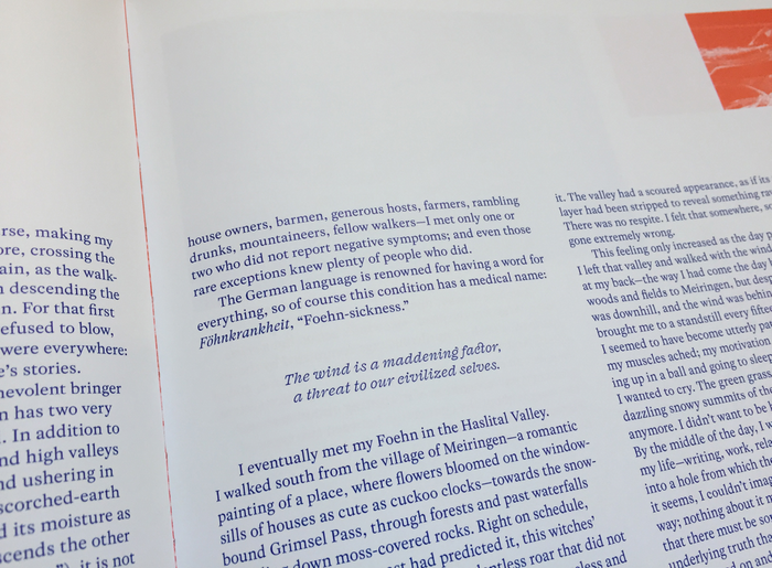 Text set in Rosart and GT America, with pull quote set in Fragen Italic. Printed in two Pantone spot colors, blue and red.