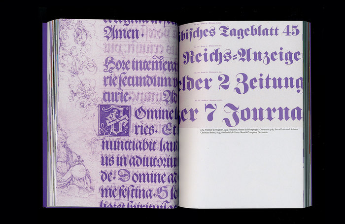 Left: A detail from the prayer book for Emperor Maximilian I, printed in early Fraktur type by Johann Schönsperger (Augsburg, 1513). Right: Detail from a type specimen by Johann Peter Nees & Co., showing Johann Christian Bauer's  (1855).